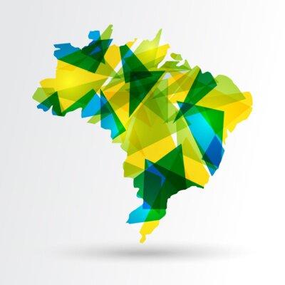 Plakát Abstract Brazílie mapa