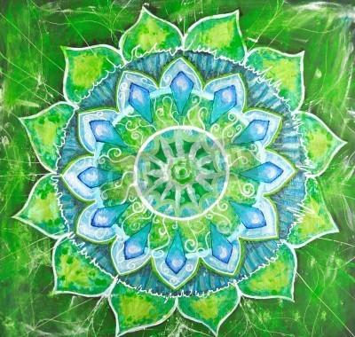 Plakát abstract green malovaný obraz s kruhem vzorem, mandala anáhaty čakry