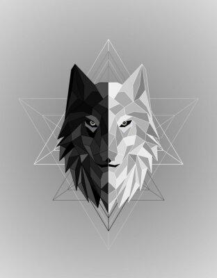 Plakát Abstract polygonal wolf head design