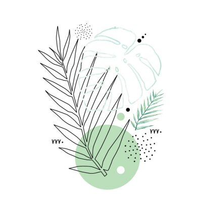 Plakát Abstract poster background minimal shapes, watercolor tropical leaf. Art print with doodles, line, blue texture. Tropical illustration for minimalism, hipster, scandinavian design, t-shirt print