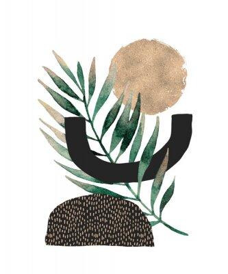 Plakát Abstract poster design: minimal shapes, glossy golden tropical leaf.