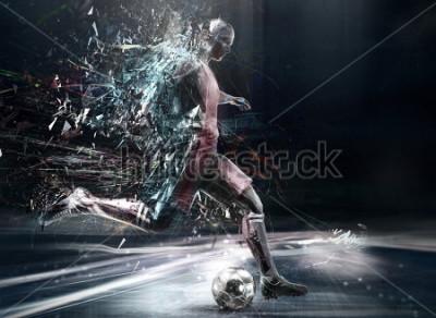 Plakát abstract soccer player; 3d illustration