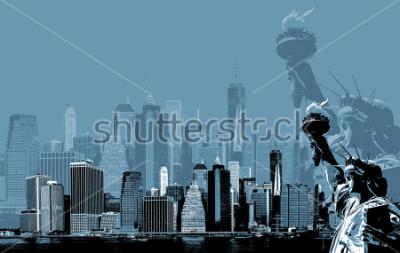 Plakát Abstractní obraz manhatanu. Symboly z New Yorku. Manhattan Skyline a Socha svobody NYC. Současné umění a plakátový styl v modré barvě