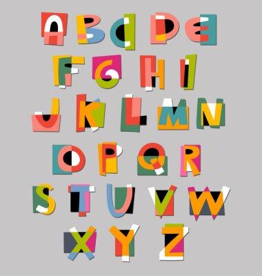 Plakát Abstrakt abeceda písmo. Paper styl cut-out