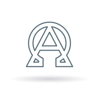 Plakát Abstrakt alfa a omega ikona. Začátek a konec znamení. Řecký alfa a omega symbol. Alfa a omega logo. Tenká čára ikona na bílém pozadí. Vektorové ilustrace.