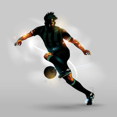 Plakát Abstrakt fotbal běh s míčem