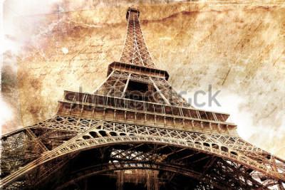 Plakát Abstraktní digitální umění Eiffelovy věže v Paříži, zlato. Starý papír. Pohlednice, vysoké rozlišení, tisk na plátně