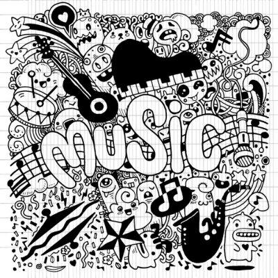 Plakát Abstraktní hudba na pozadí Ruční kresba čmáranice, vektor illustratio