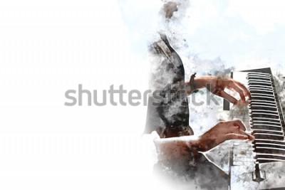 Plakát Abstraktní krásná ruka hraje klávesnice piano popředí Akvarelu pozadí a digitální ilustrace štětec na umění.