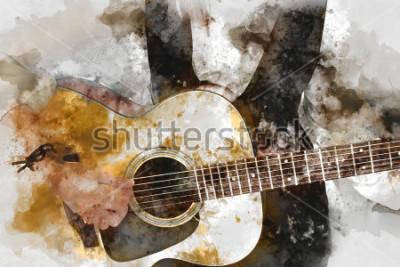Plakát Abstraktní krásná žena hraje na kytaru v popředí. Pozadí, akvarel pozadí malování a digitální ilustrace kartáč k umění.