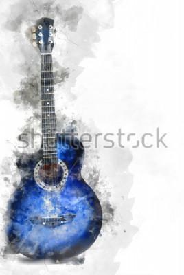 Plakát Abstraktní kytara v popředí, akvarel malování pozadí a digitální ilustrace kartáč na umění.