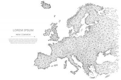 Plakát Abstraktní mash line a bod Evropa mapa na bílém pozadí s nápisem. Hvězdné nebe nebo vesmír, skládající se z hvězd a vesmíru. Vektorové ilustrace