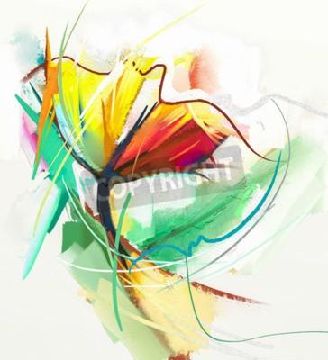 Plakát Abstraktní olejomalba jarních květin. Zátiší žluté a červené barvy. Abstrakt Moderní impresionista. Květinová malba. Dekorativní malba květin