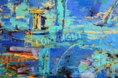 Plakát Abstraktní olejomalba s převládajícími blues