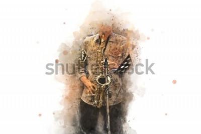 Plakát Abstraktní saxofon v popředí. Zblízka, akvarel malování jazz hraje na saxofon.