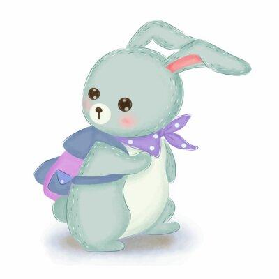 Plakát adorable blue bunny illustration for nursery decoration