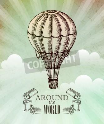 Plakát Aeronautické dobrodružství. Vintage ilustrace s balónem EPS 10