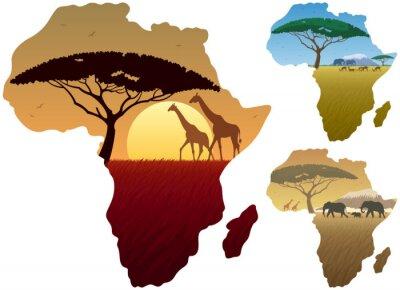 Plakát Africa Map krajiny / Tři africké krajiny v mapě Afriky.