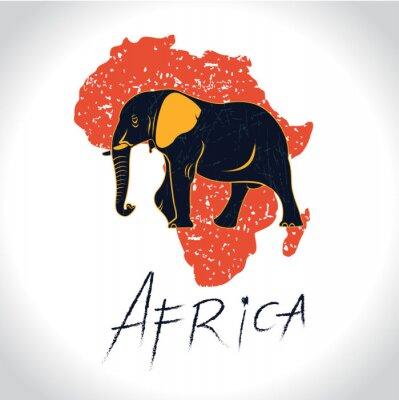 Plakát Afrika a Safari s slona logem 2