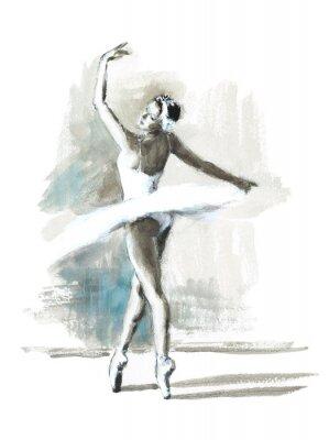 Plakát Akvarel Baletka Malované baletka Ilustrace