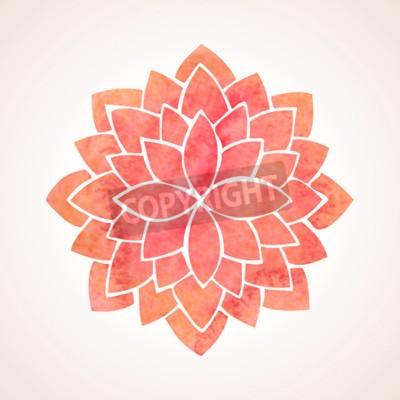 Plakát Akvarel červený lotosový květ vzor na bílém pozadí