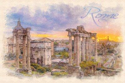 Plakát Akvarel Efekt ilustrace úsvitu přes římské fórum
