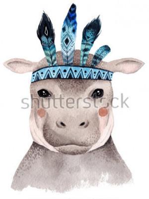 Plakát Akvarel hroch portrét, roztomilý boho design s peřím. Mateřské tisky se zvířaty, plakáty a pohlednice.