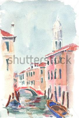 Plakát Akvarel Ilustrace benátského kanálu
