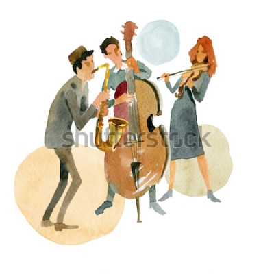 Plakát Akvarel ilustrace. Instrumentální jazzové trio sestávající z kontrabasu, houslí a saxofonu