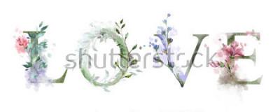 Plakát akvarel ilustrace s divokými květy, byliny - láska. Chlazení na tiskku. Vinobraní. Nápis