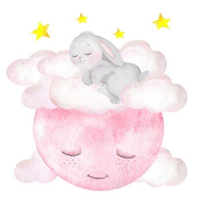 Plakát Akvarel ilustrace s roztomilý králík, měsíc, hvězdy a mraky