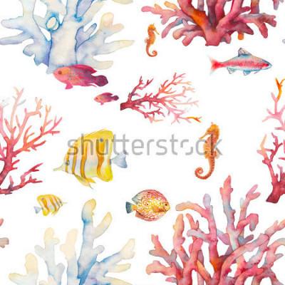 Plakát Akvarel korálový útes bezpečný vzor. Ruční kreativní realistický design pozadí: tropické ryby, korály, mořský koník na bílém pozadí. Přirozený opakující se návrh textury pro papír, záznamy, tapetu