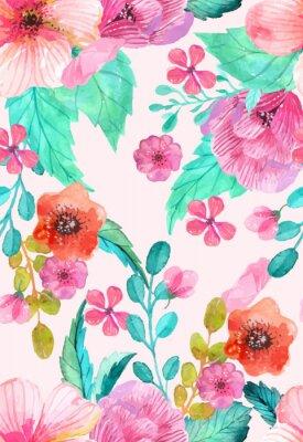 Plakát Akvarel květinové bezešvé vzor