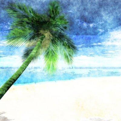 Plakát Akvarel palma na pláži