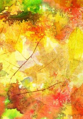 Plakát Akvarel pozadí s podzimní listí