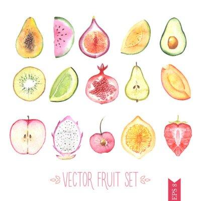 Plakát Akvarel vector fruit set