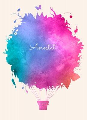 Plakát Akvarel vintage horký vzduch balloon.Celebration slavnostní poza