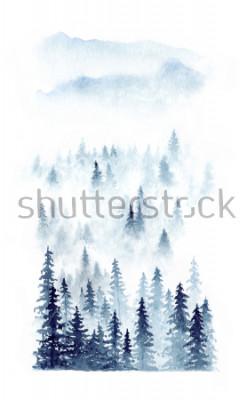 Plakát Akvarel zimní krajina lesa v mlze. Smrk izolovaných na bílém pozadí