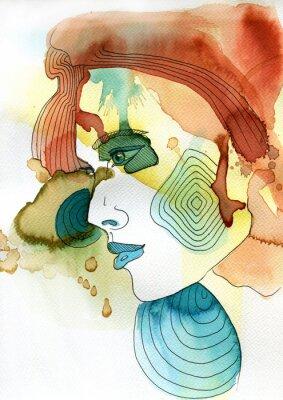 Plakát Akwarelowy portret kobiety