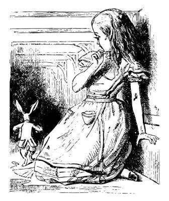 Plakát Alice Watches the White Rabbit Run Away vintage illustration