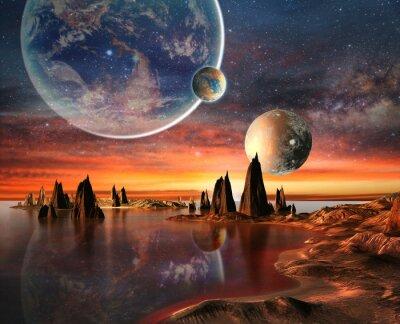 Plakát Alien Planet se Zemí Měsíc a hory