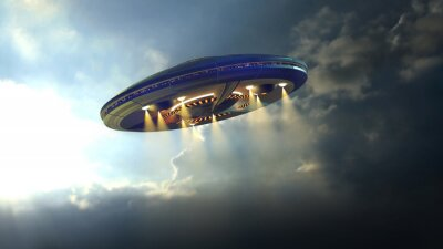 Plakát Alien UFO saucer flying through the clouds above Earth