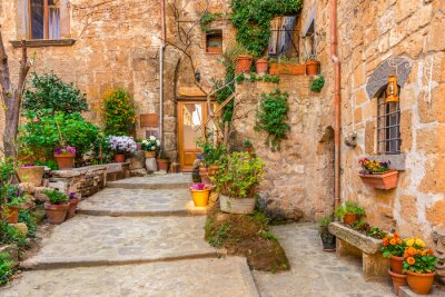 Plakát Alley in old town Tuscany Italy