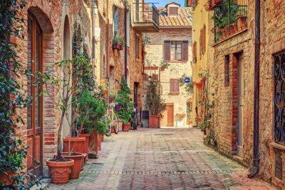 Plakát Alley na Starém Městě Toskánsko Itálie