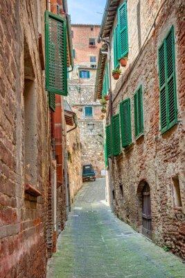 Plakát Alley v historické části města Toskánsko Itálie