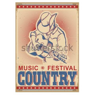 Plakát Americký hudební festival pozadí s hudebníkem hraje na kytaru. Vektorové retro plakát s textem na starý papír
