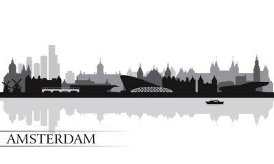 Plakát Amsterdam city skyline silhouette background