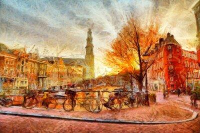 Plakát Amsterdam kanál při večerním impresionistické malby
