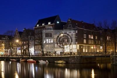 Plakát Amsterdam kanály a typické domy