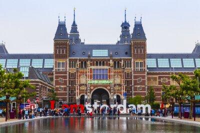 Plakát Amsterdam, Nizozemsko. Náměstí před muzeem státu